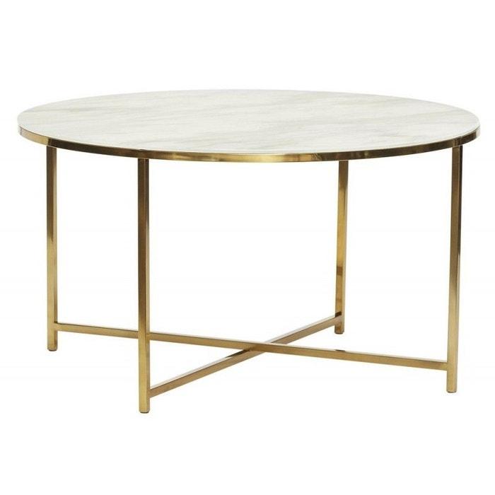 Table basse ronde métal verre effet marbre laiton Hubsch   La Redoute dd2e1d820369