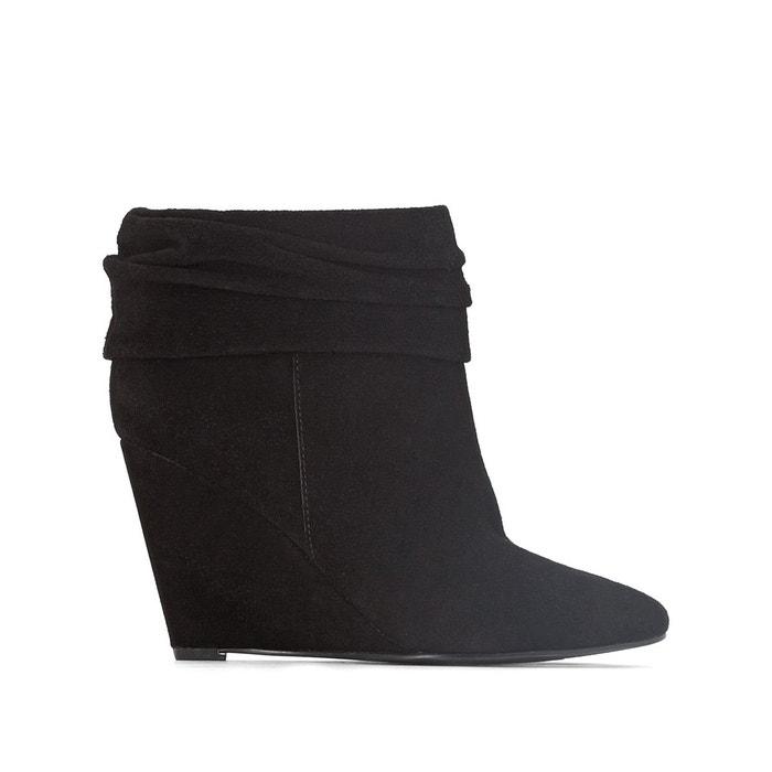 Boots en cuir à talons compensés   noir La Redoute Collections   La Redoute