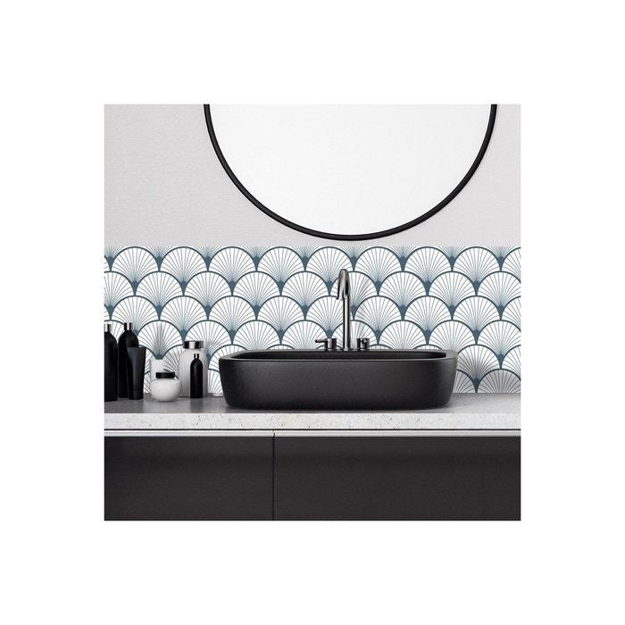 Crédence salle de bain adhésive ART DECO BLEU - lot de 2
