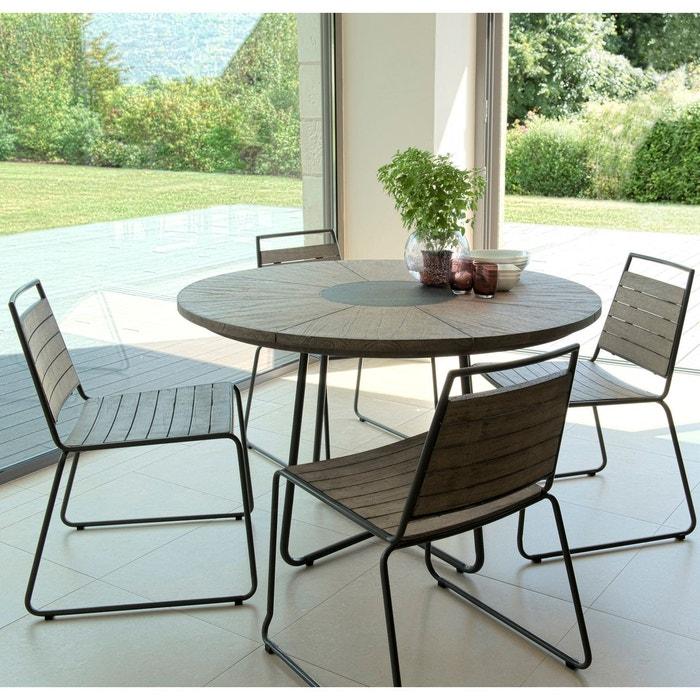 Salon de jardin table d\'extérieur ronde en bois teck grisé métal pierre D  120cm + 4 chaises empilables DETROIT