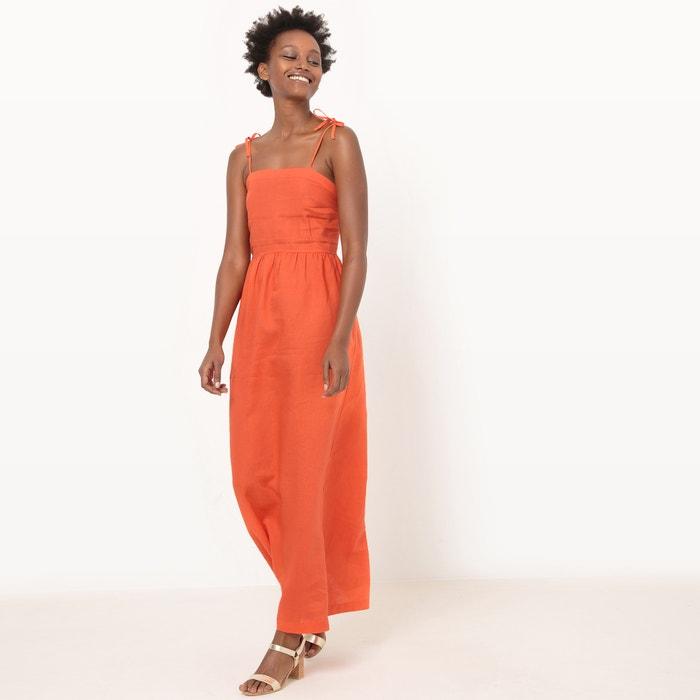 Kleid, lange Form, schmale Träger zum Binden  La Redoute Collections image 0