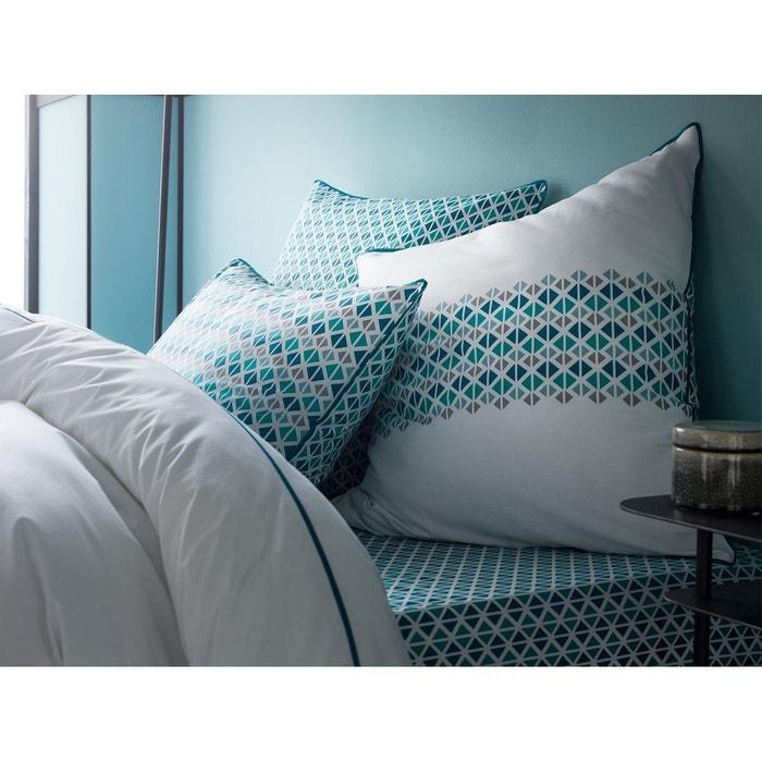 drap housse percale de coton 80 fils imprim petits triangles meraude canard bonnet 37 cm. Black Bedroom Furniture Sets. Home Design Ideas