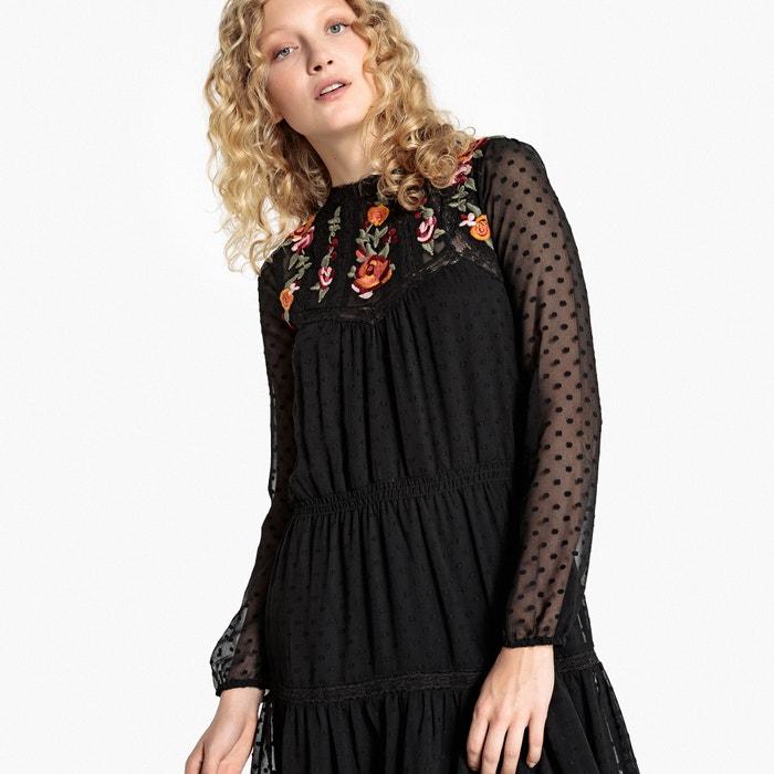 bonita bordadas Collections con bohemio Redoute Vestido espalda flores La WUn0Tx
