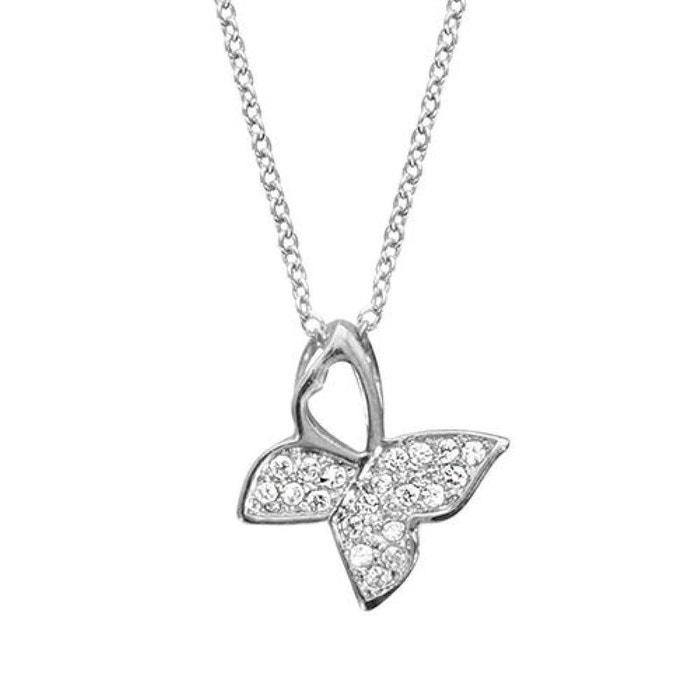 42c31df02c6d4 Collier réglable: 40 à 44 cm pendentif papillon serti argent 925 argenté So  Chic Bijoux | La Redoute
