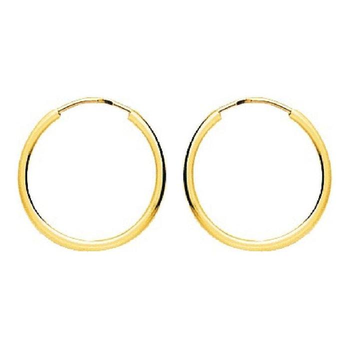 Boucles d'oreilles femme créoles diamètre 16 mm fil rond 1,2 mm or jaune 750/000 (18 carats) couleur unique So Chic Bijoux | La Redoute