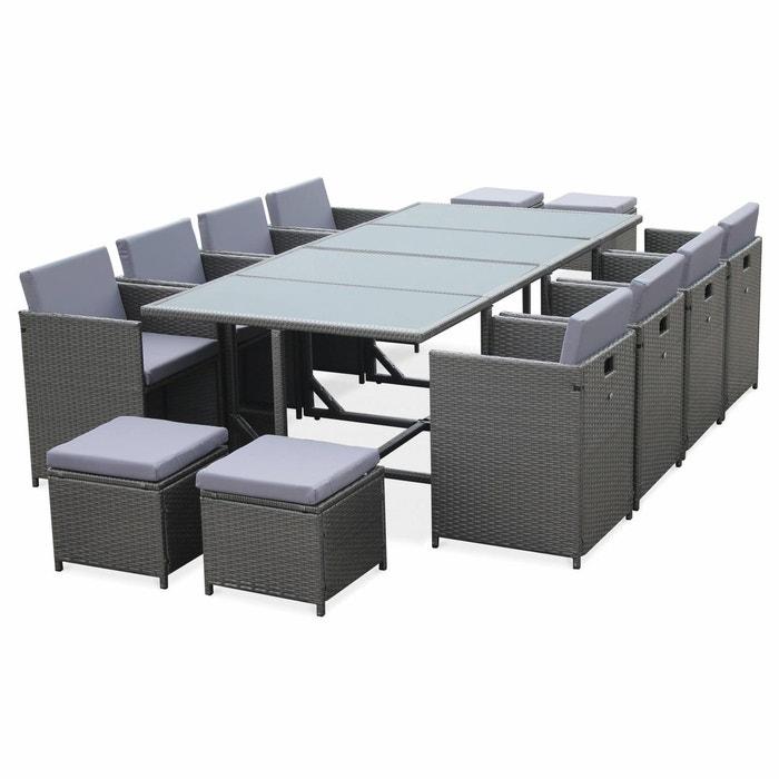 Salon de jardin cubo table en résine tressée 8 à 12 places ...