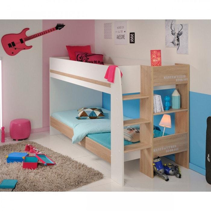 lit superpos 90x200 blanc et ch ne terre de nuit bois naturel terre de nuit la redoute. Black Bedroom Furniture Sets. Home Design Ideas