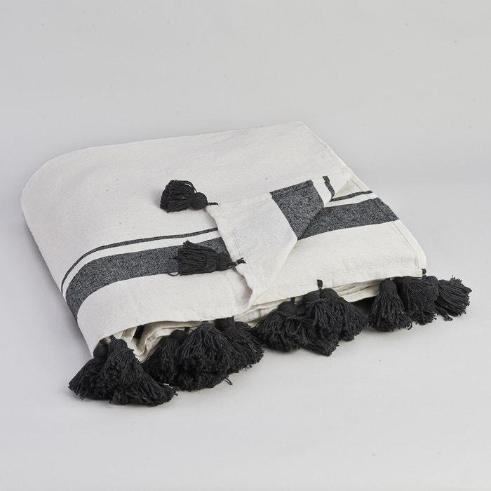 Купить Покрывало Valens. Покрывало из 100% хлопка плотного плетения с черными полосами и помпонами по краям. Размеры.