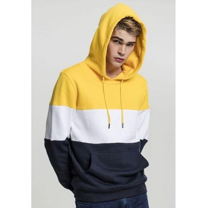 0eec4ea522cc Sweat à capuche tricolore block jaune Urban Classics