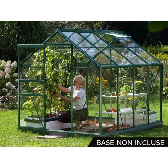 Serre de jardin en verre v nus 5 m vert couleur unique - Code promo habitat et jardin livraison gratuite ...