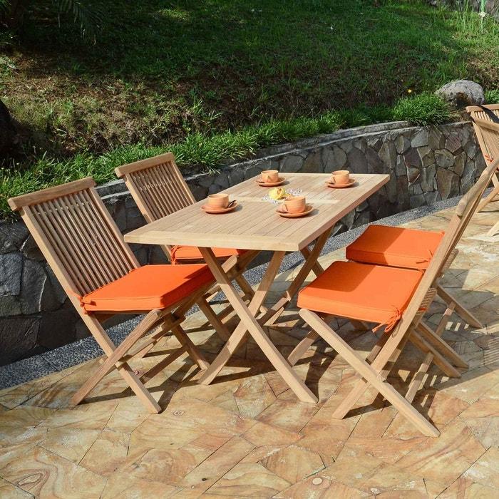 Table de jardin en Teck Pliable 120 x 70 cm - Kensaï