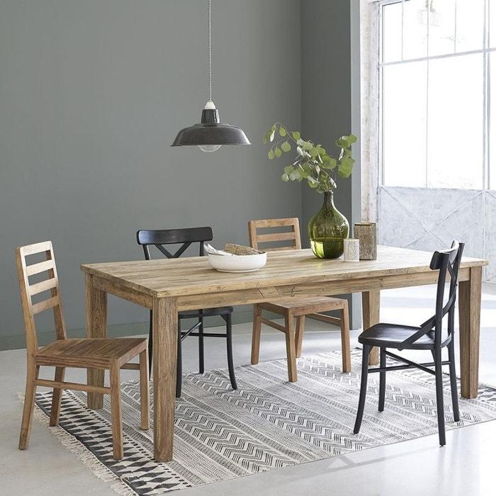 table manger en bois de teck recycl avec rallonges 8 12 couverts teck recycl bois dessus. Black Bedroom Furniture Sets. Home Design Ideas