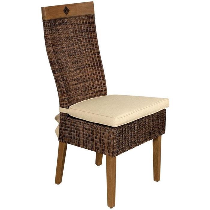 Chaise en rotin et teck avec coussin naturel aubry gaspard for Chaise cuir et rotin