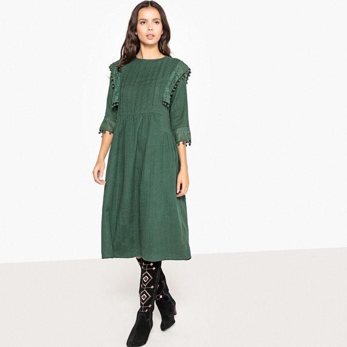 Robe midi style folk, avec plis et pompons  LA REDOUTE COLLECTIONS image 0