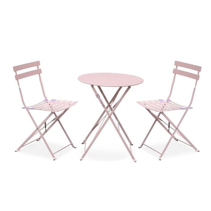 Salon de jardin bistrot pliable emilia rond rose pale, table ?60cm ...