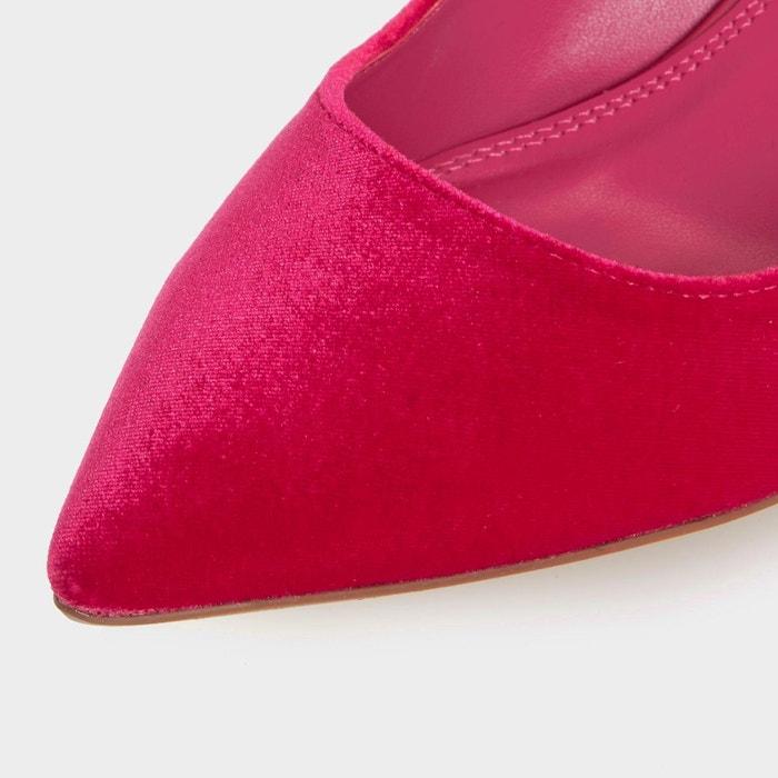 Escarpins à bout pointu et talon orné de perles - brioney velours rose velours Dune London