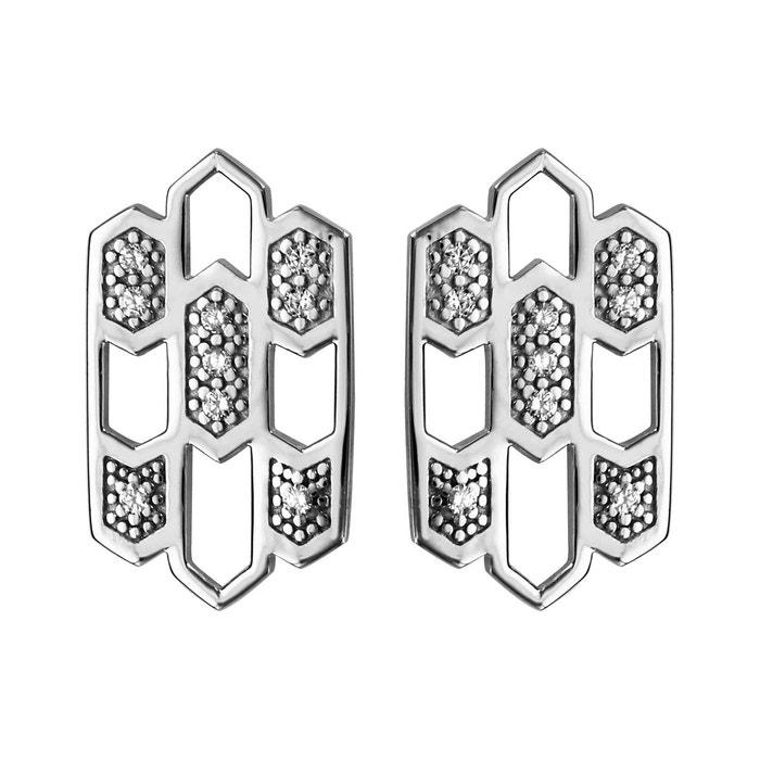 Date De Sortie Du Jeu 2018 Nouvelle Ligne Boucles d'oreilles forme géométrique oxyde de zirconium blanc argent 925 couleur unique So Chic Bijoux | La Redoute jn5mLtuvI