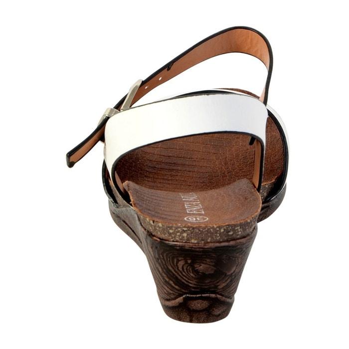 Sandale compensée blanc blanc Enza Nucci