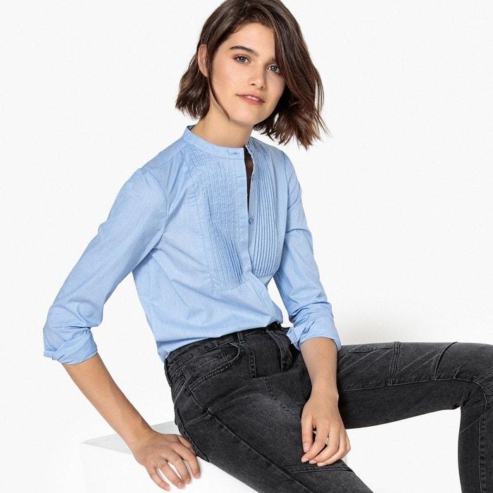 chemise col mao plastron pliss rose la redoute. Black Bedroom Furniture Sets. Home Design Ideas