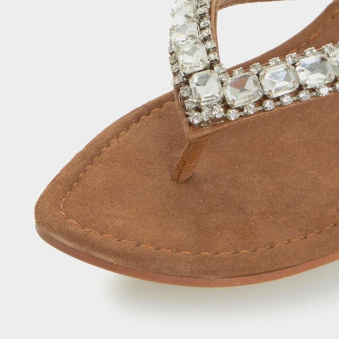 Diamante toe post flat sandal - nevah fauve daim Dune London