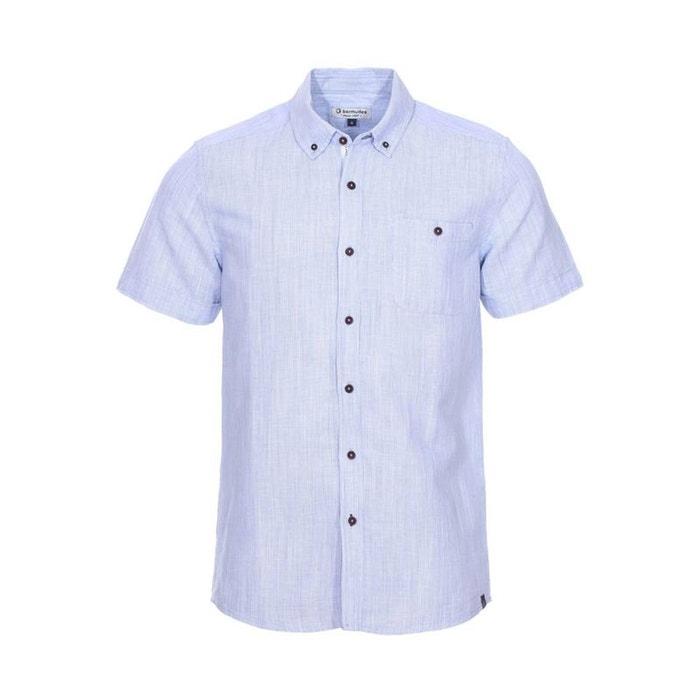 Chemise manches courtes droite elvin en lin ciel à fines rayures lin bleu Bermudes