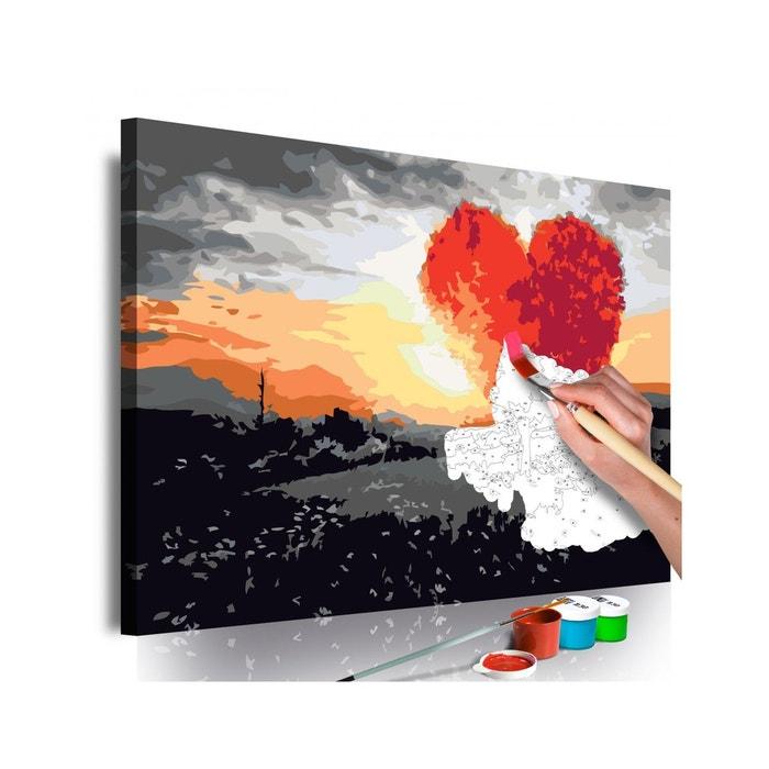 Tableau à Peindre Soi Même Arbre En Forme De Coeur Lever De Soleil