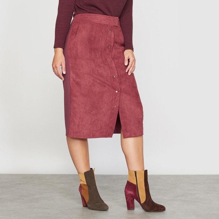 Image Dual Fabric Faux Leather Skirt CASTALUNA