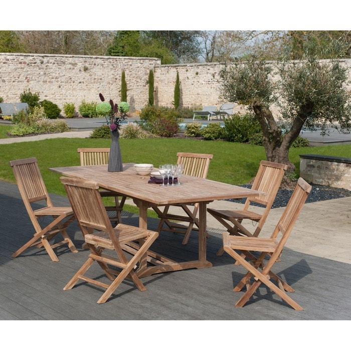 Salon de jardin table d\'extérieur extensible rectangle 180/240x100cm 6  chaises pliantes en bois de teck SUMMER