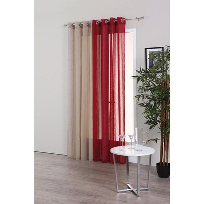 voilage rayures 140 x 240 cm couleur lin beige atmosphera la redoute. Black Bedroom Furniture Sets. Home Design Ideas