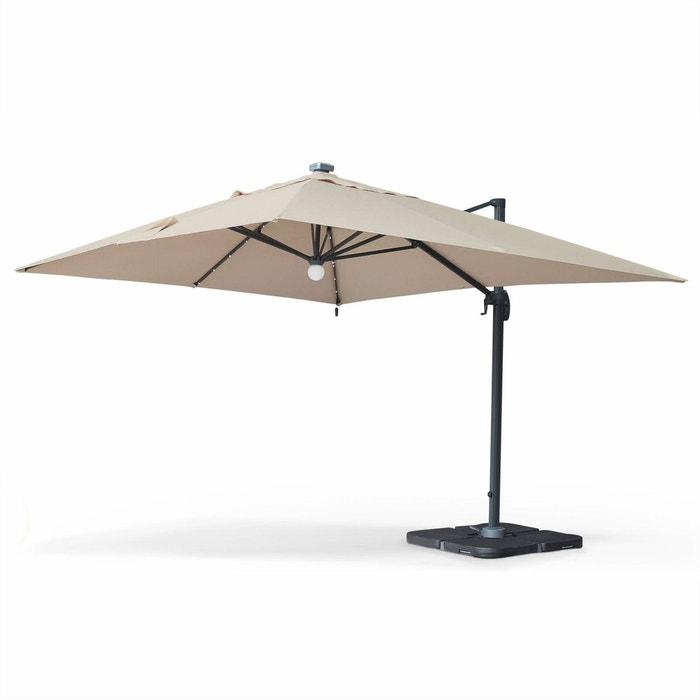 parasol d port solaire led 3x4m luce beige haut de gamme avec lumi re int gr e beige alice s. Black Bedroom Furniture Sets. Home Design Ideas