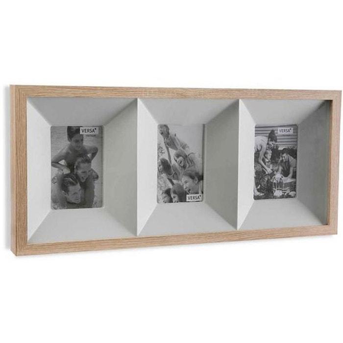 cadre 3 photos en bois tactoe 60 x 28 cm blanc declikdeco la redoute. Black Bedroom Furniture Sets. Home Design Ideas