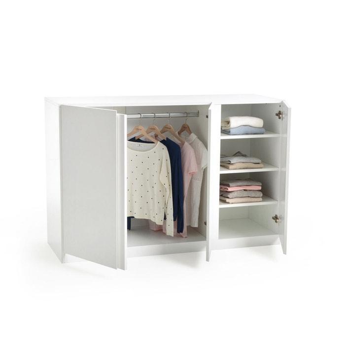 armoire basse 3 portes penderie et ling re leo blanc la. Black Bedroom Furniture Sets. Home Design Ideas