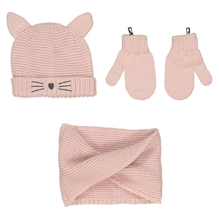 Ensemble bonnet + gants + écharpe 0 mois - 3 ans rose La Redoute Collections    La Redoute ab593cfb63a