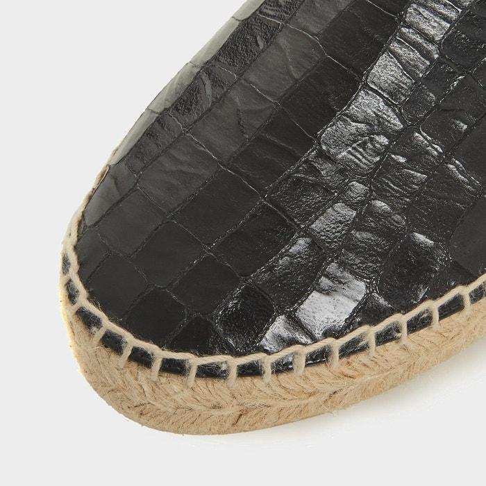 Mocassins texturés avec semelle espadrille compensée - leiria Dune Black