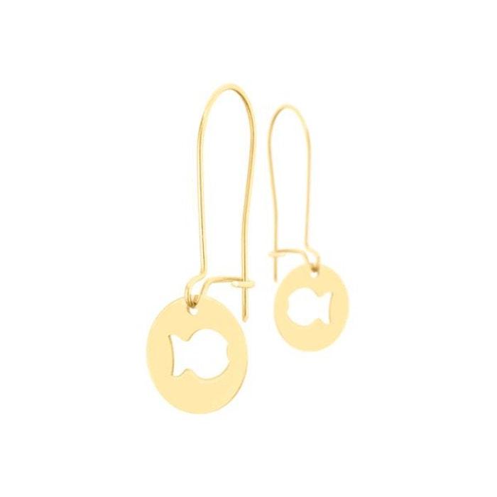 Boucles d'oreilles dormeuses clio blue or jaune 18k, 0.8g or Clio Blue   La Redoute