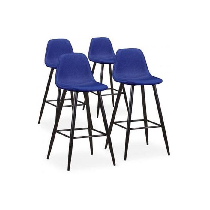 lot de 4 tabourets de bar tissu bleu sinrai bleu. Black Bedroom Furniture Sets. Home Design Ideas