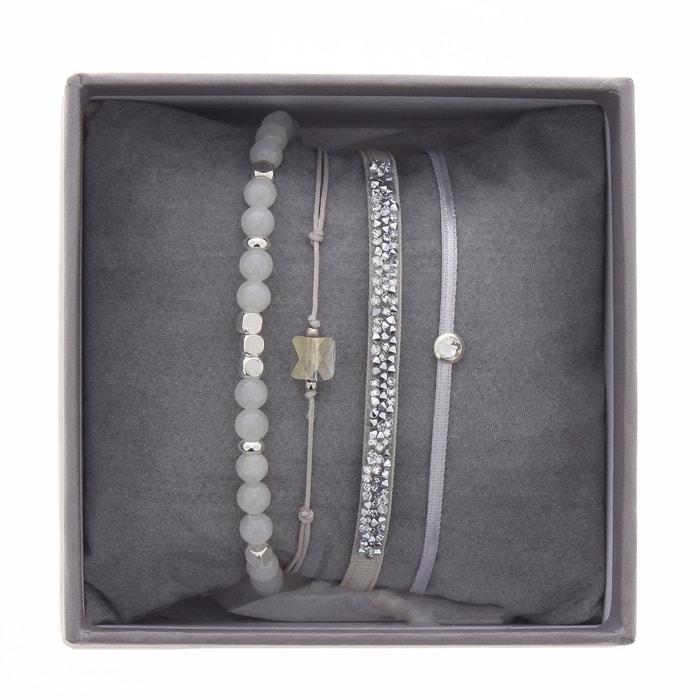 Coffret les interchangeables, bracelets en satin grid, cristal blanc et jade blanc Les Interchangeables | La Redoute