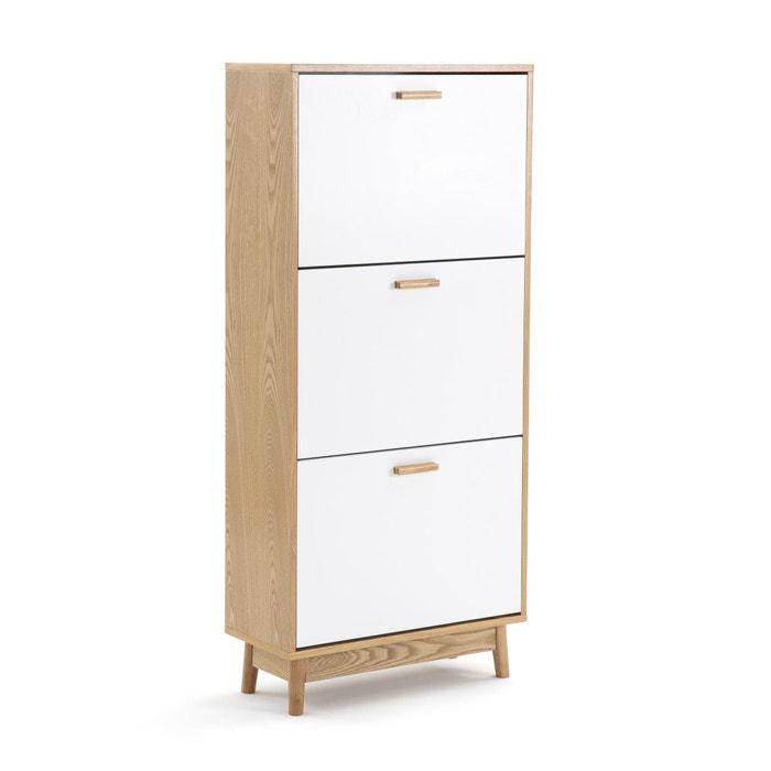 Sheldon Scandi Style 3 Compartment Shoe Storage Cabinet White Wood La Redoute Interieurs La Redoute
