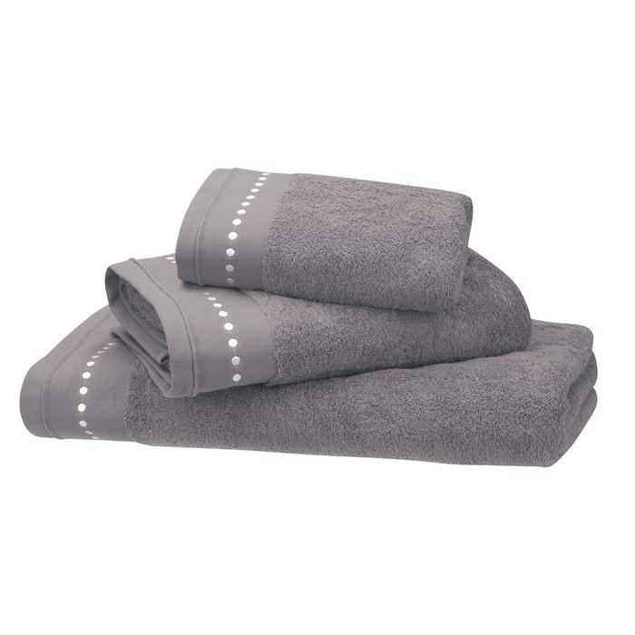 drap de bain gris taupe coton peign 600 g m brod gris taupe blanc cerise la redoute. Black Bedroom Furniture Sets. Home Design Ideas