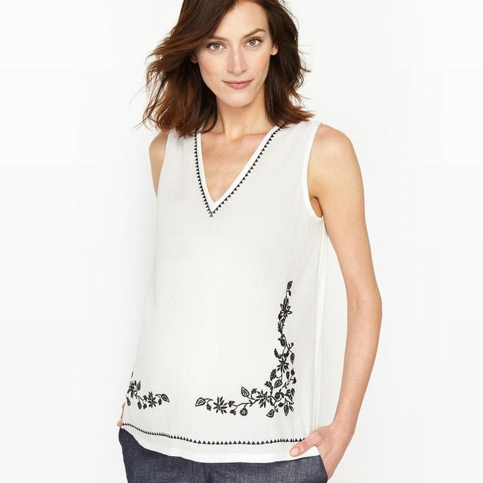 afbeelding Zwangerschap T-shirt in 2 stoffen, geborduurd detail La Redoute Collections