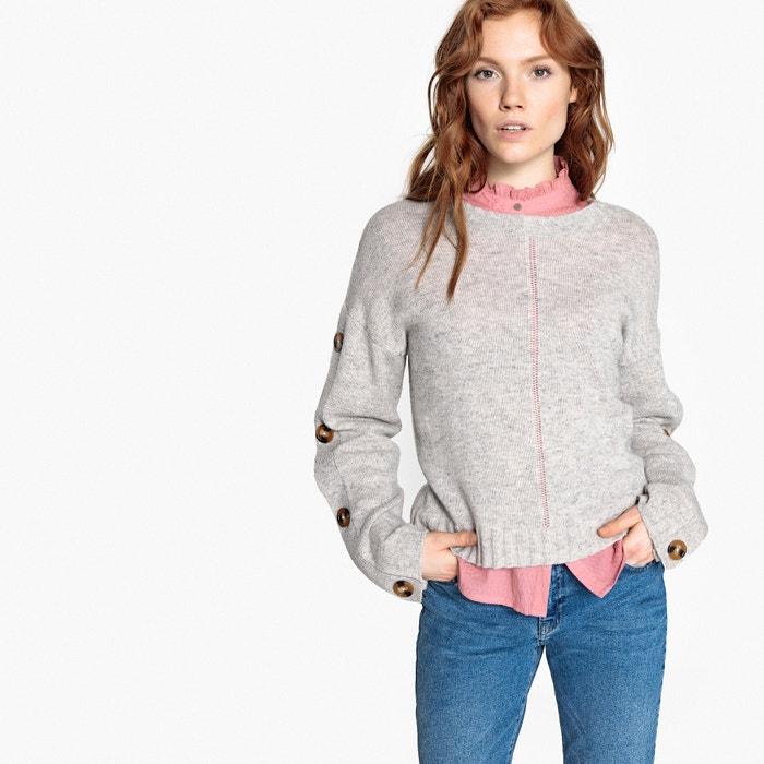 Jersey de lana de cordero con cuello redondo y corte amplio abotonado  La Redoute Collections image 0