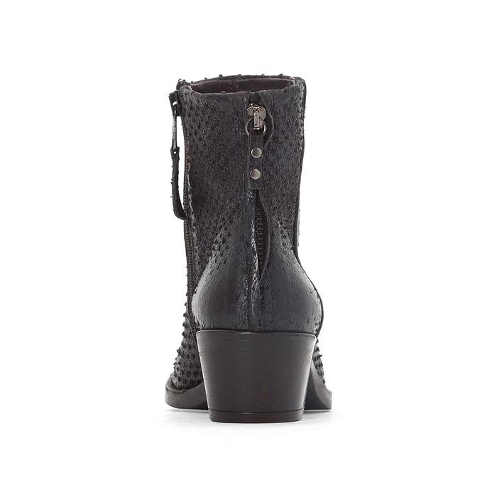 Boots cuir fresno noir métal Mjus