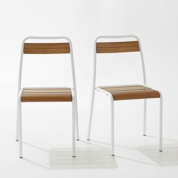 Chaise de jardin m tal et ch ne teint lot de 2 la - La redoute chaise de jardin ...