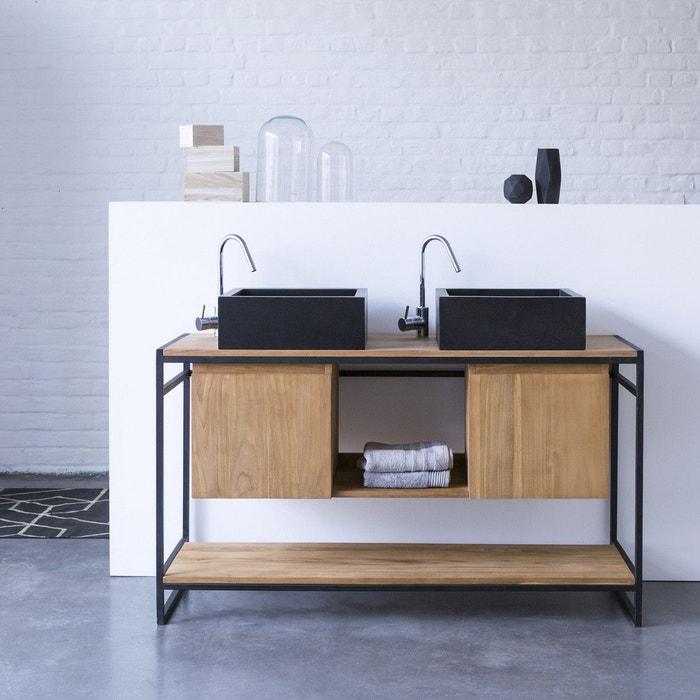 meuble salle de bain en m tal et bois de teck 140 michal m tal et bois tikamoon la redoute. Black Bedroom Furniture Sets. Home Design Ideas