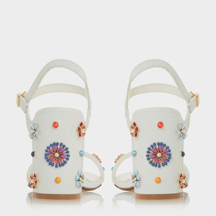 Sandales à talons carrés ornées de fleurs en sequins - moonflower blanc daim Dune London