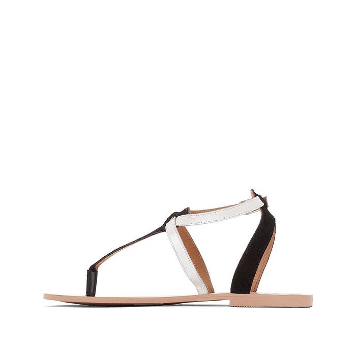 Sandales cuir détail métal argent/noir La Redoute Collections