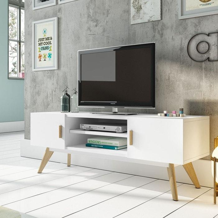 Meuble Tv Design Compas Blanc Zendart   La Redoute