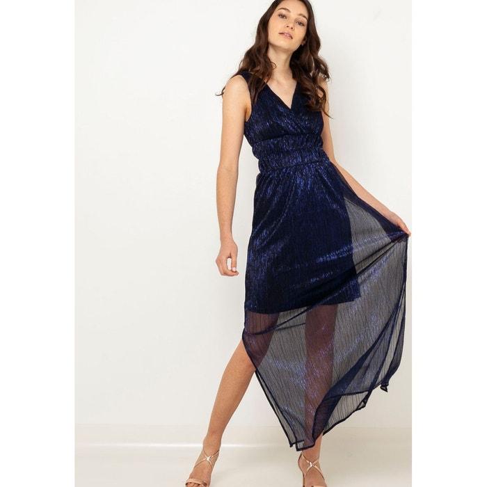 3dc70d4da27 Robe longue plissée bleu Camaieu