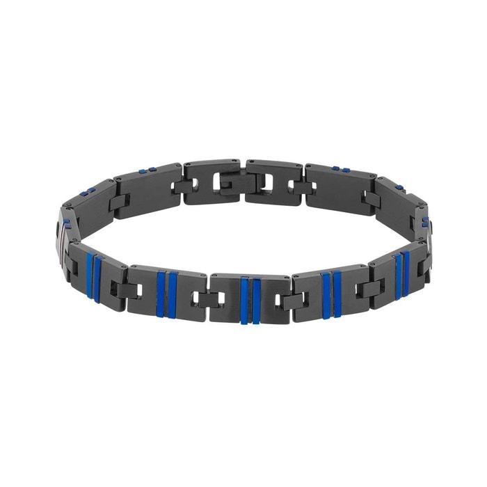Bracelet male en acier noir et bleu noir Male | La Redoute Nouvelle Arrivée Pas Cher En Ligne AMBUfs
