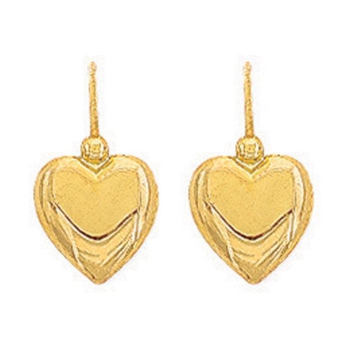 Boucles d'oreilles dormeuses coeur or jaune 375/000 (9 carats) couleur unique So Chic Bijoux   La Redoute Vente Pas Cher Marchand f0xRXUL